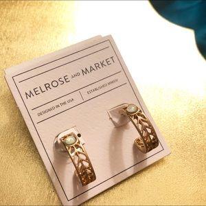 NORDSTROM MELROSE & MARKET matte gold opal hoops